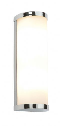 Chrome effect plate & matt opal duplex glass IP44 Bathroom Wall Light BX39363-17  (Double Insulated)